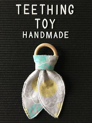 Baby Teething Toy. Wooden Teething Ring. Handmade. Yellow. Turquoise. Grey.
