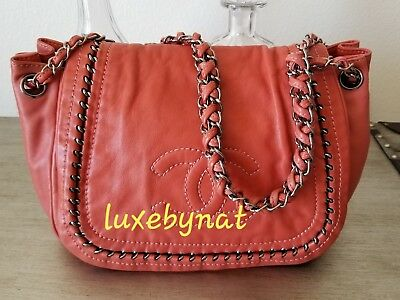 33099f2a991df4 AUTH CHANEL SMALL tote pink coral lamb skin silver hardware ...