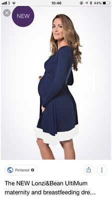 1f040746213ca Lonzi & Bean Maternity and Nursing Dress Navy Blue BNWT SIZE M