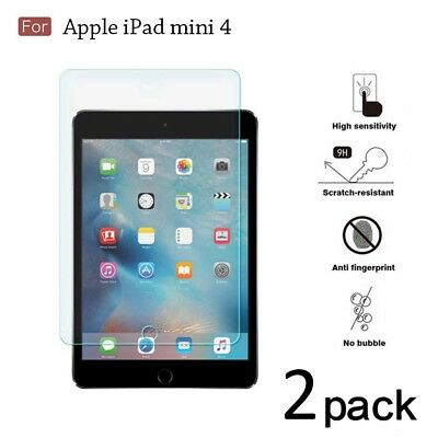 [2-Pack] Tempered Glass Screen Protector Shield Saver Film For Apple iPad Mini 4