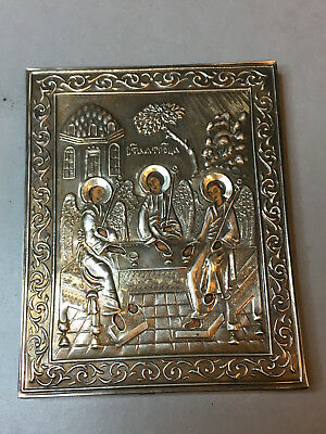 Russian 84 Silver Orthodox Icon ''the Holy Trinity''
