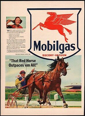 Vintage magazine ad MOBILGAS 1941 Mobil gas oil Pegasus pictured That Red Horse