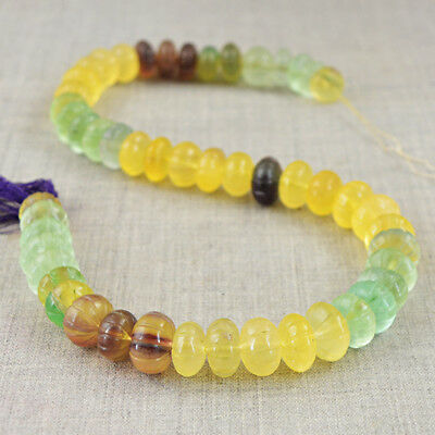 Genuine 519.00 Cts / 15 Inches Natural Drilled Multicolor Fluorite Beads Strand