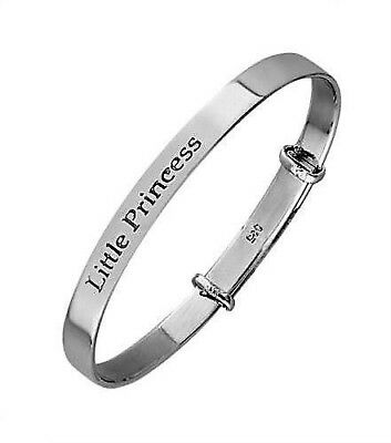Christening Baby's or Child' 925 Solid Silver Little Princess Bangle Handmade