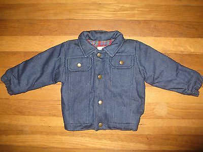 Dougie's Vintage Boys Size 12 Months Flannel Plaid Denim Blue Jean Jacket Coat