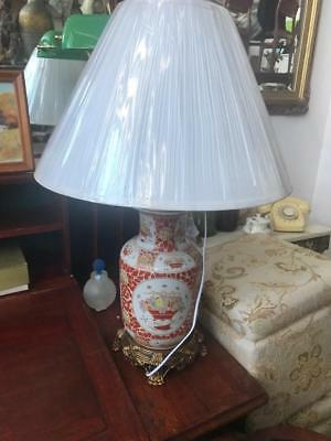 Pair Of Chinese  Hand Painted Orange/White Ceramic Table Lamps...new Shade