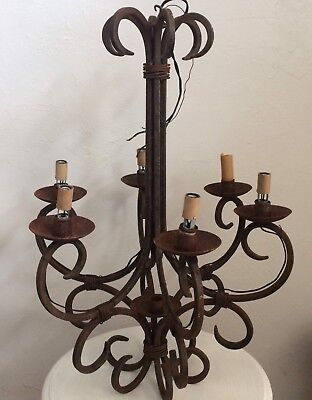 Antique Wrought Iron Chandelier 6 arm French Chandelier Rustic Lighting Vintage