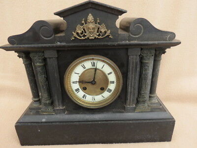Heavy Antique French Striking Slate Mantel Clock For Spares Repair