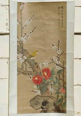 Vintage Original Chinese Watercolor-on-Silk Painting Scroll