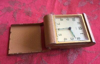 Vintage Running Oris Brass And Lacquered Case Travel Alarm Clock