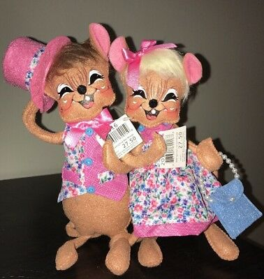 Annalee Mobility Doll Pair Easter 8 Inch Springtime Girl & Boy Mouse $55 NWT