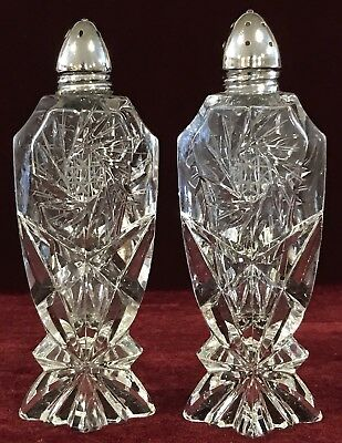 "Vintage 5-1/8"" Tall Glass Crystal Salt & Pepper Shakers w/ Chrome Lids"