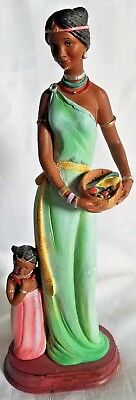 African women statue with child