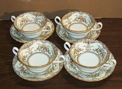 Minton Chatham Cream Soup 3 Cups And 3 Saucers