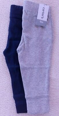 NWT Carters NWT Baby Size 9 months Blue Gray Knit Stretch Set of 2 pants A00-09