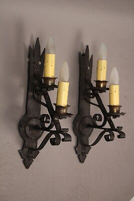 Pair 1920's Spanish Revival Mission Tudor Staggered Double Light Sconces 11258