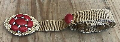 VTG Retro Gold Tone Metal Mesh With Red Beads Buckle Adjustable Belt