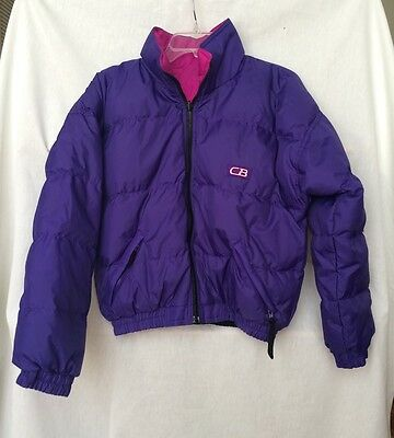 CB Sports Ski Jacket 80% Down Womens Reversible Purple Pink Winter Coat Size  S fa4714a75