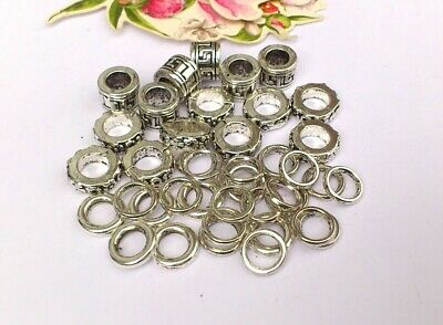 35 x Chunky Aztec Rondelle & Alloy Ring  Spacers, 8-10mm Large Hole
