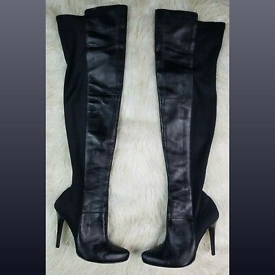 3f38251cfdf Colin Stuart Black Leather Stretch Over the Knee Thigh High Stiletto Boots  Sz 10