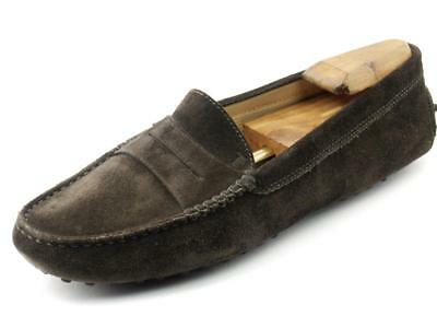 1e840a1b4ffd Dark Brown TOD S GOMMINO Suede Leather Flats Drivers Loafers 40 EU 10 US  ITALY