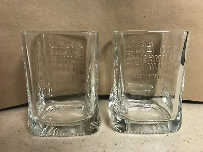 2pc The Old Bushmills Distillery 1608 Irish Whiskey Square Tumbler Glasses
