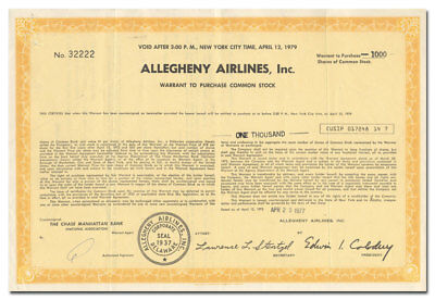 Allegheny Airlines, Inc. Stock Certificate (USAir)