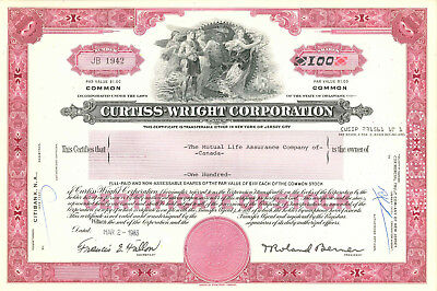 Curtiss-Wright Corporation > Aeroplane & Motor stock certificate share