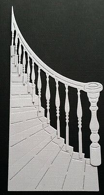 CHOICE OF COLOUR & CARD. 4 sets of STAIRCASE & BANISTERS  (8 pieces), Die Cuts