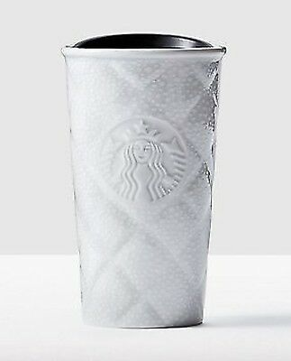 STARBUCKS Quilted White Snow Double Wall Mug Traveler Tumbler Cup 10 oz ceramic