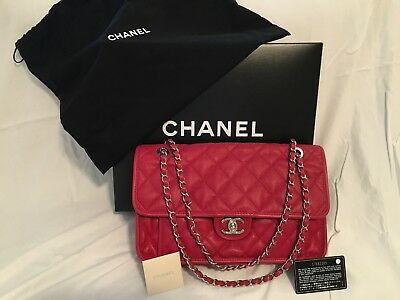 545c037f3068 Authentic CHANEL Classic Flap Jumbo French Riviera Red Caviar Shoulder Bag