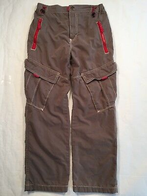 Mini Boden Lined Cargo Pants Adjustible Size 11Y GUC Grey Red Utility Kids Boys