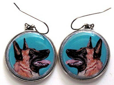 Belgian Malinois Original Art Earrings