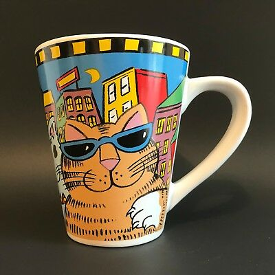 Catzilla Tall Coffee Cup Candace Reitner City Background Hipster Cats