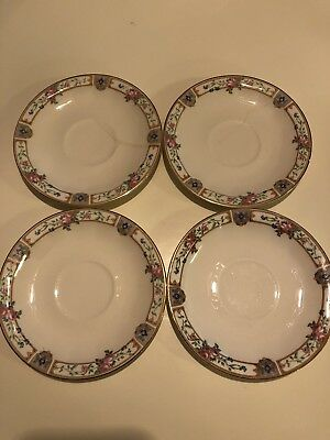 Edwin Knowles Plaza Saucer Set Of 4- Gold Semi Vitreous China Circa 1925 USA