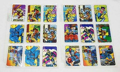 1992 Lot of 18 X-Men Prism Foil Vending Machine Trading Card Stickers Complete