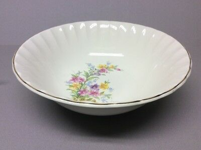 W.S. George Bolero Round  Serving Bowl Wildflowers Fence Gold Rim 9""