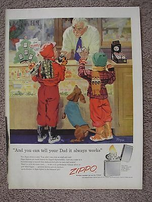 1955 Zippo Lighters Christmas Large Full Page Color Ad