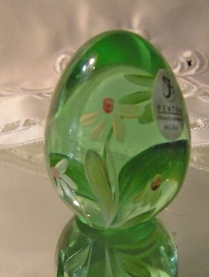 Fenton Glass Paperweight Egg - Green, Flowers, Signed, Handpainted