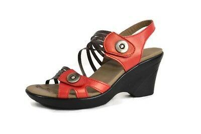 761b5f9c9f28  150 DROMEDARIS Marcy Wedge Sandals Size 39  8.5-9 Women Salmon Pewter  Leather