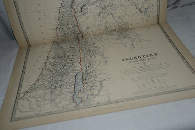 PALESTINE OR THE HOLY LAND 1877 Original Antique Map Print, Keith Johnston's