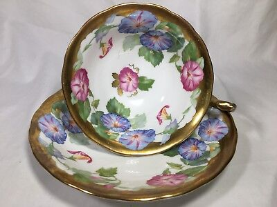 Vintage Royal Chelsea 'MORNING GLORY'  CUP AND SAUCER #445A
