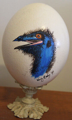 Ostrich Egg hand painted with Emu on it by Aboriginal artist Wendy Owen
