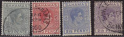 BAHAMAS Used Scott # 103, 103B, 104, 104A King George VI -rem, penci# (4 Stamps)