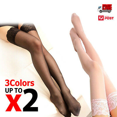 Women Sheer Lace Top Non-slip Thigh High Stockings Hold-up Pull up Stay up AU