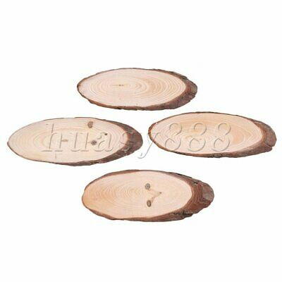 4PCS Natural Oval Wooden Slices Round Disc 6-7cm Width for Wedding Party Decor