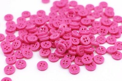 Small 9mm 14L Clear Cerise Pink Green 4 Hole Shirt Buttons Sewing Craft ML4-B
