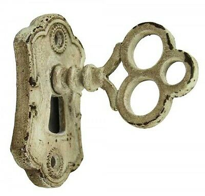 French Vintage Shabby Chic Style Cream Coloured Metal Door Loop Knob and Keyhole