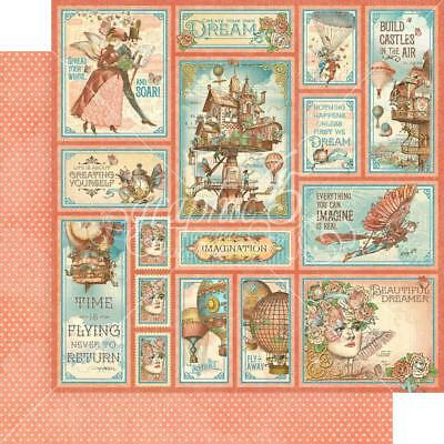 "Graphic 45 Imagine - CASTLES IN THE AIR - 12x12"" D/sided Scrapbooking Paper"