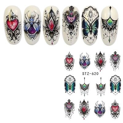 Nail Art Water Decals Stickers Transfers Flowers Jewels Gems Butterfly (620)